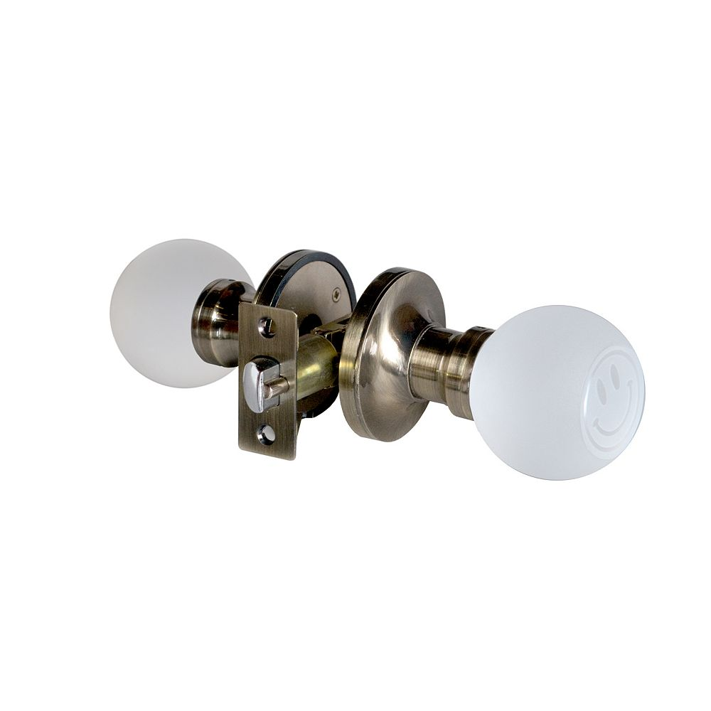 Krystal Touch Smiley Face Antique Brass Privacy LED Door Knob