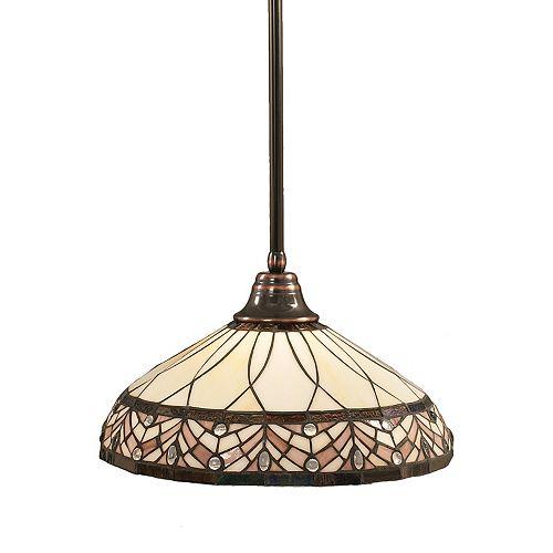 Concord 1 lumière au plafond Noir Copper Pendeloque incandescence par une royale Merlot Le verre selon Tiffany