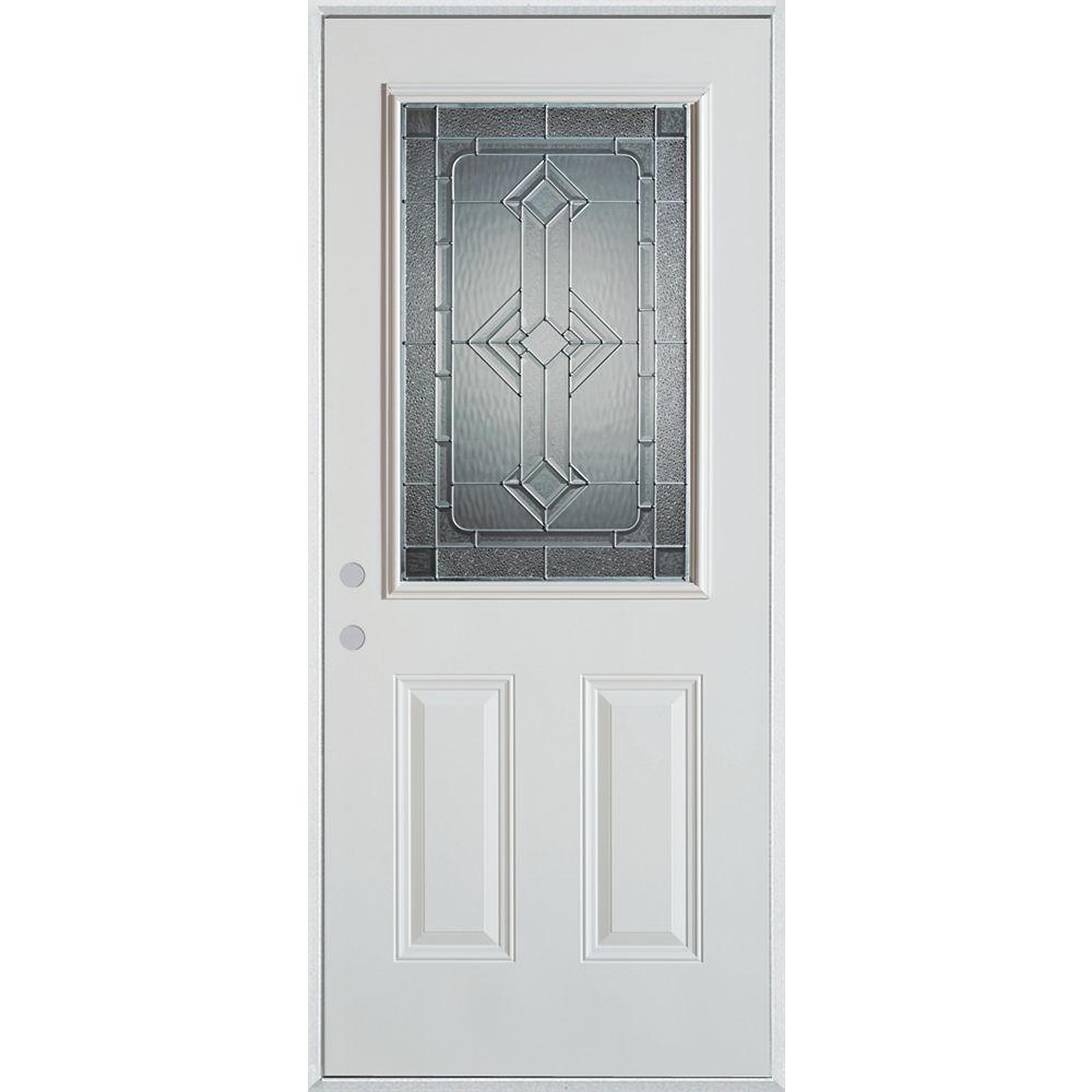 STANLEY Doors 37.375 inch x 82.375 inch Neo Deco Zinc 1/2 Lite 2-Panel Prefinished White Right-Hand Inswing Steel Prehung Front Door - ENERGY STAR®
