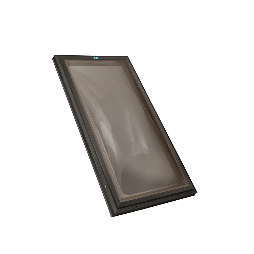 Columbia Skylights 2ft x 4ft Fixed Curb Mount Double Glazed Bronze Acrylic Dome Skylight, Brown Frame