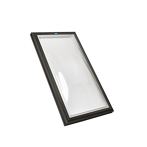 2ft x 3ft Fixed Curb Mount Double Glazed Clear Acrylic Dome Skylight with Brown Frame