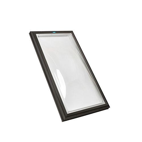 Puits de lumière 2pi x 3pi Fixe, monté sur cadre double vitrage transparent dôme acrylique avec cadre brun
