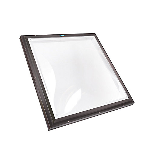 4ft x 4ft Fixed Curb Mount Double Glazed Clear Acrylic Dome Skylight with Brown Frame