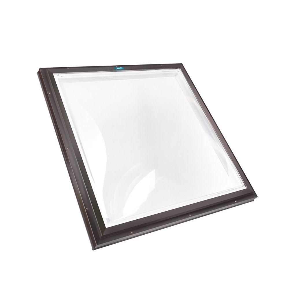 Columbia Skylights Puits de lumière fixe monté sur cadre 4 pi x 4 pi, dôme acrylique double transparent, cadre brun