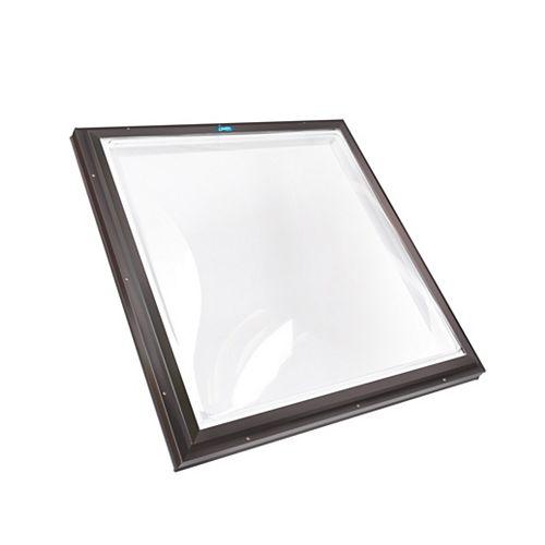 Puits de lumière 4pi x 4pi Fixe monté sur cadre double vitrage transparent dôme acrylique avec cadre brun