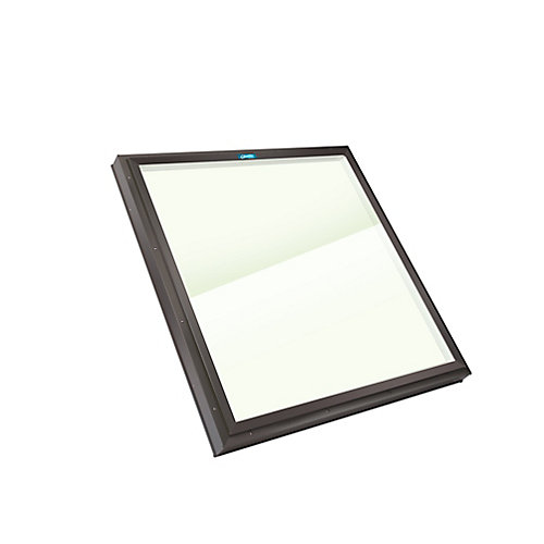 4ft x 4ft Fixed Curb Mount Outside Fastening LoE3 Double Glazed Clear Glass Skylight with Brown Frame