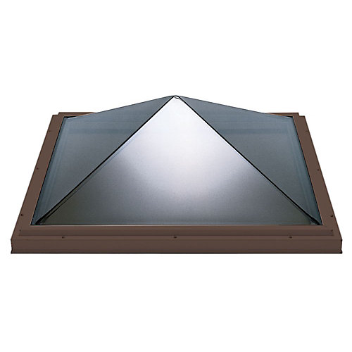 4ft x 4ft Fixed Curb Mount Double Glazed Clear Acrylic Pyramid Skylight with Brown Frame