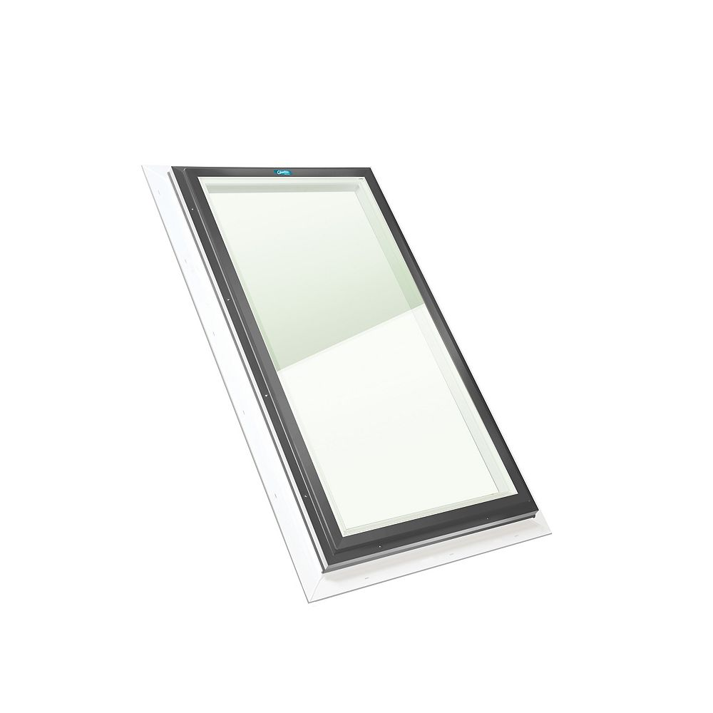 Columbia Skylights 2ft x 4ft Fixed Curb Mount Outside Fastening LoE3 Double Glazed Clear Glass Skylight, Grey Frame