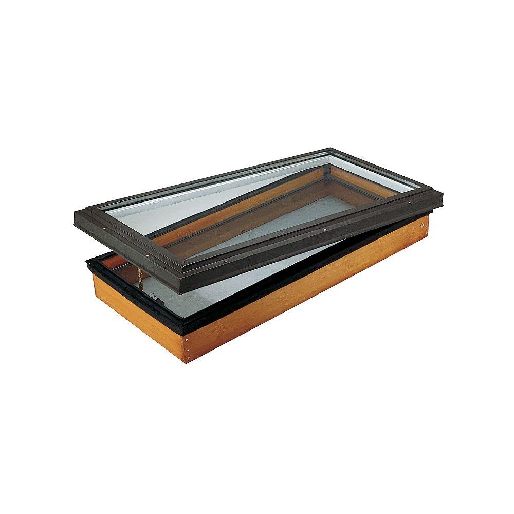 Columbia Skylights Puits de lumière 44.75po x 46po Ouvrant, Fenêtre de toit en bois verre transparent LoE3 trempée avec cadre brun