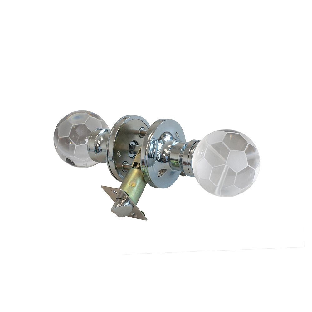 Krystal Touch Soccer Ball Chrome Privacy LED Door Knob