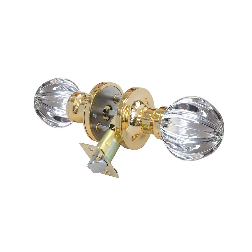 Krystal Touch Wave Brass Privacy LED Door Knob