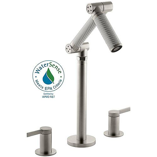 Karbon Deck-Mount Bathroom Faucet with Silver Tube