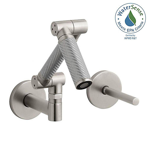 Karbon Wall-Mount Bathroom Faucet with Silver Tube