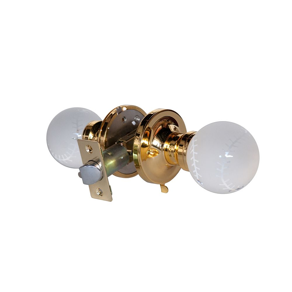 Krystal Touch Baseball Brass Privacy LED Door Knob