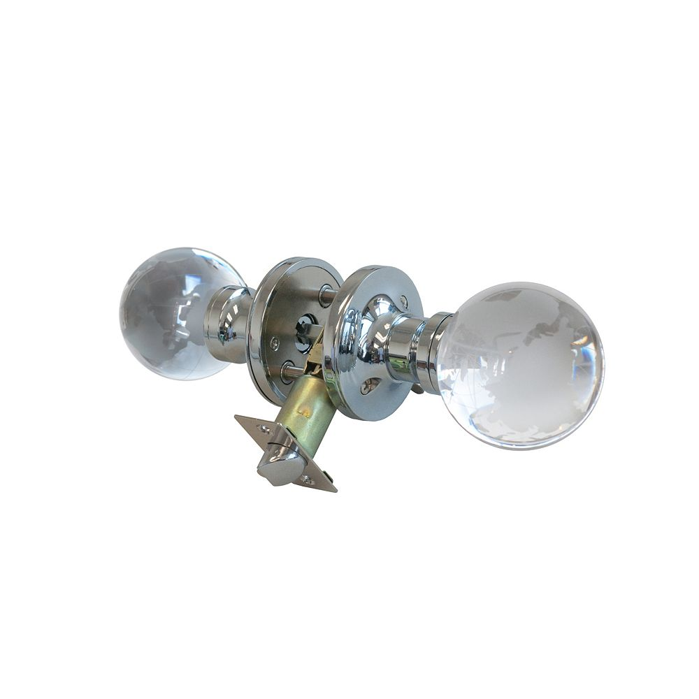 Krystal Touch Globe Chrome Privacy LED Door Knob