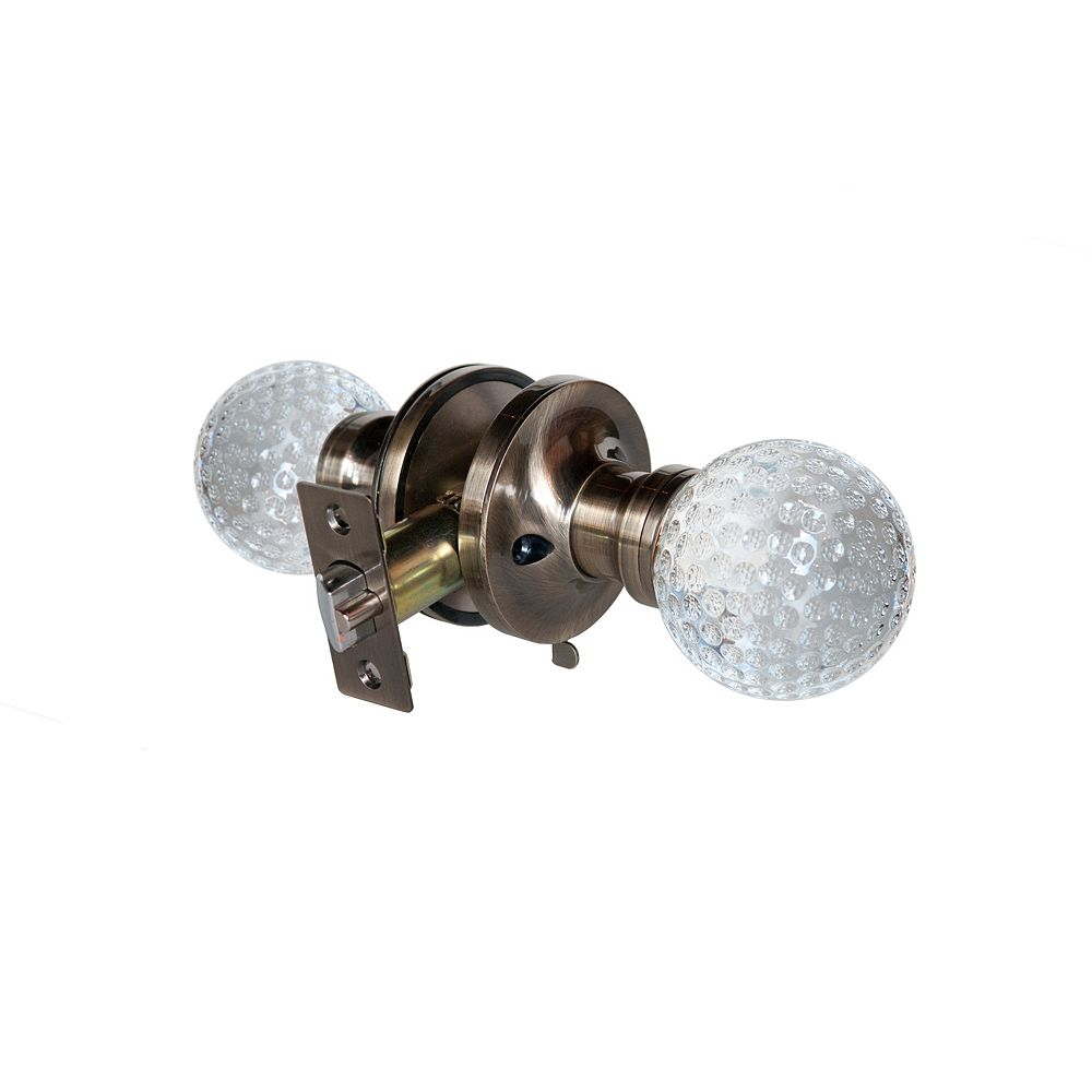 Krystal Touch Golf Ball Antique Brass Privacy LED Door Knob