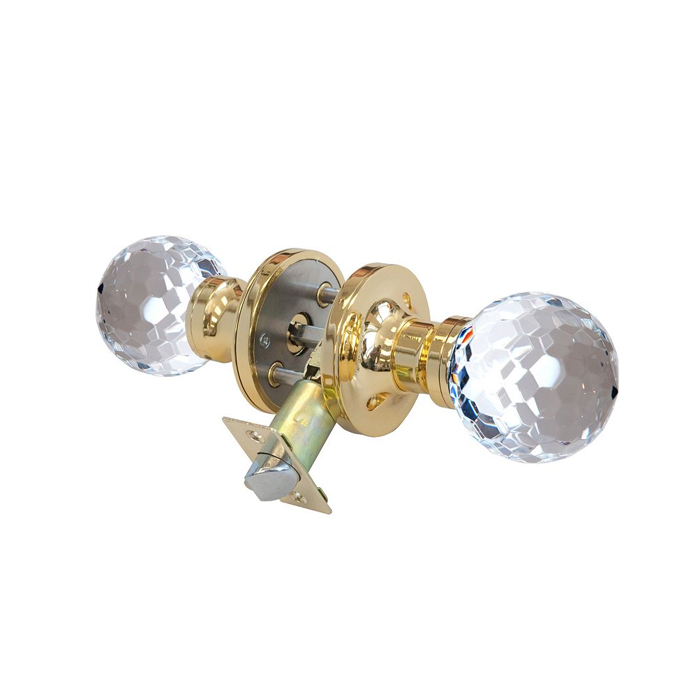 Krystal Touch Honeycomb Brass Privacy LED Door Knob