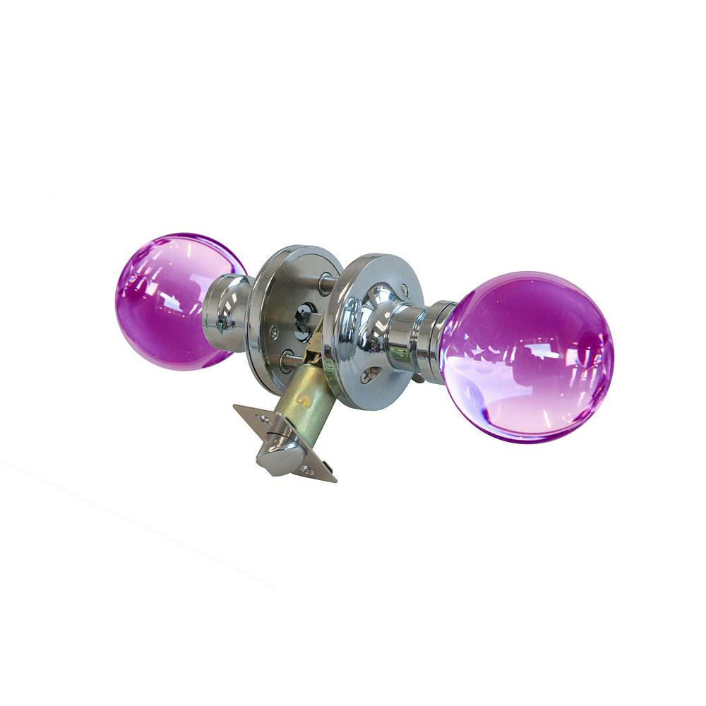 Krystal Touch Plush Pinkett Chrome Privacy LED Door Knob