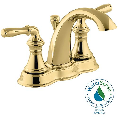 KOHLER Devonshire 4-inch Centerset 2-Handle Mid-Arc Water-Saving Bathroom Faucet in Vibrant Polished Brass