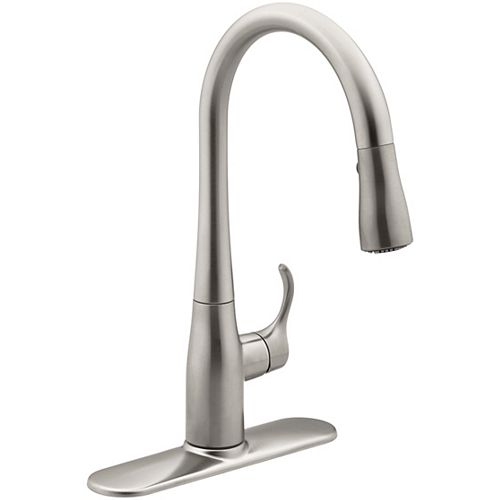 Simplice Single-Handle Pull-Down Sprayer Kitchen Faucet with Sweep Spray in Vibrant Stainless