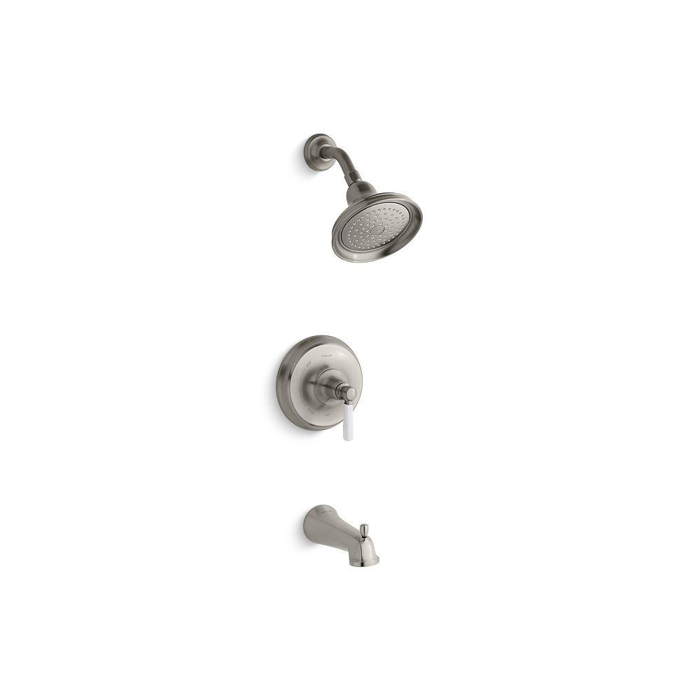 KOHLER Bancroft  Rite-Temp  garniture de robinet de baignoire et de douche à équilibrage de pression avec bec à ajustement glissant et poignée à levier en céramique White, vanne non incluse
