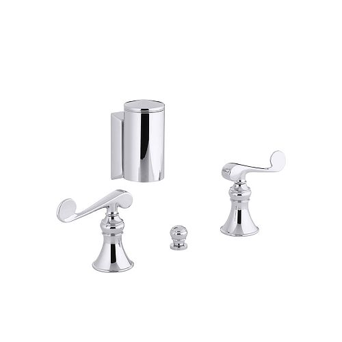 KOHLER Revival Bidet Faucet with Below-The-Rim Swivel Spray and Scroll Lever Handles