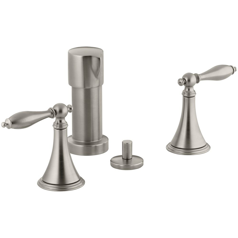 KOHLER Finial Traditional Bidet Faucet with Lever Handles and Matching Handle Inserts