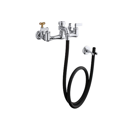 Robinet d'evier de service a 2 poignees a levier avec robinets d'arret a cle amovible, tuyau en caoutchouc, crochet mural et poignees a levier