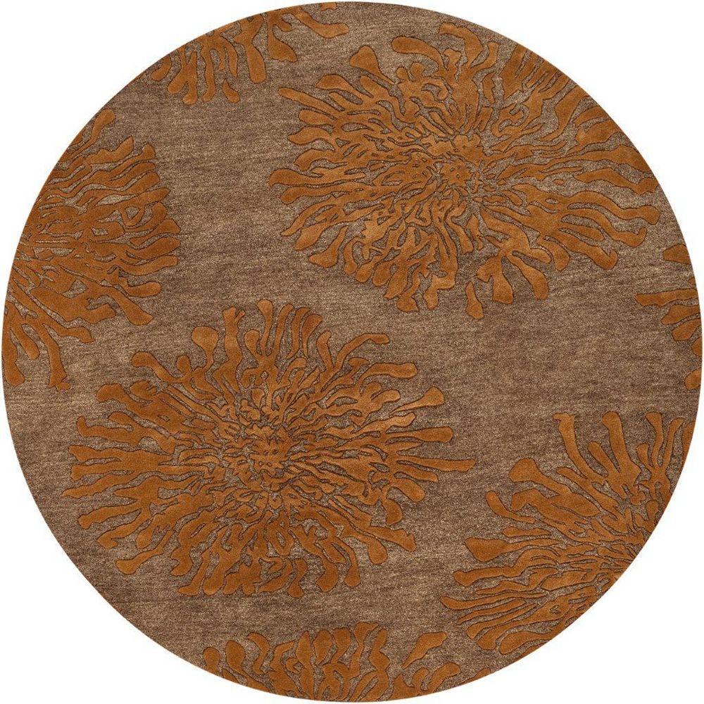 Artistic Weavers Carpette d'intérieur, 8 pi x 8 pi, style transitionnel, ronde, orange Beaumont