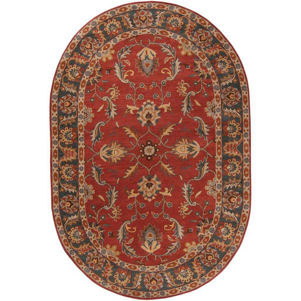 Artistic Weavers Bradbury Red 6 ft. x 9 ft. Indoor Transitional Oval Area Rug