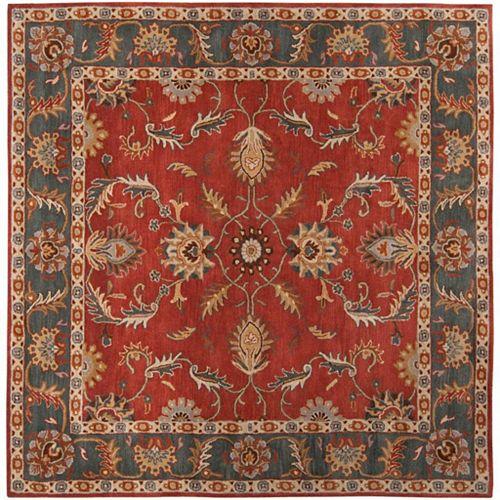 Carpette d'intérieur, 6 pi x 6 pi, style transitionnel, carrée, rouge Bradbury