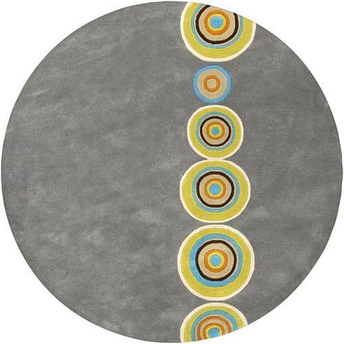 Carpette d'intérieur, 6 pi x 6 pi, style contemporain, ronde, gris Pannece