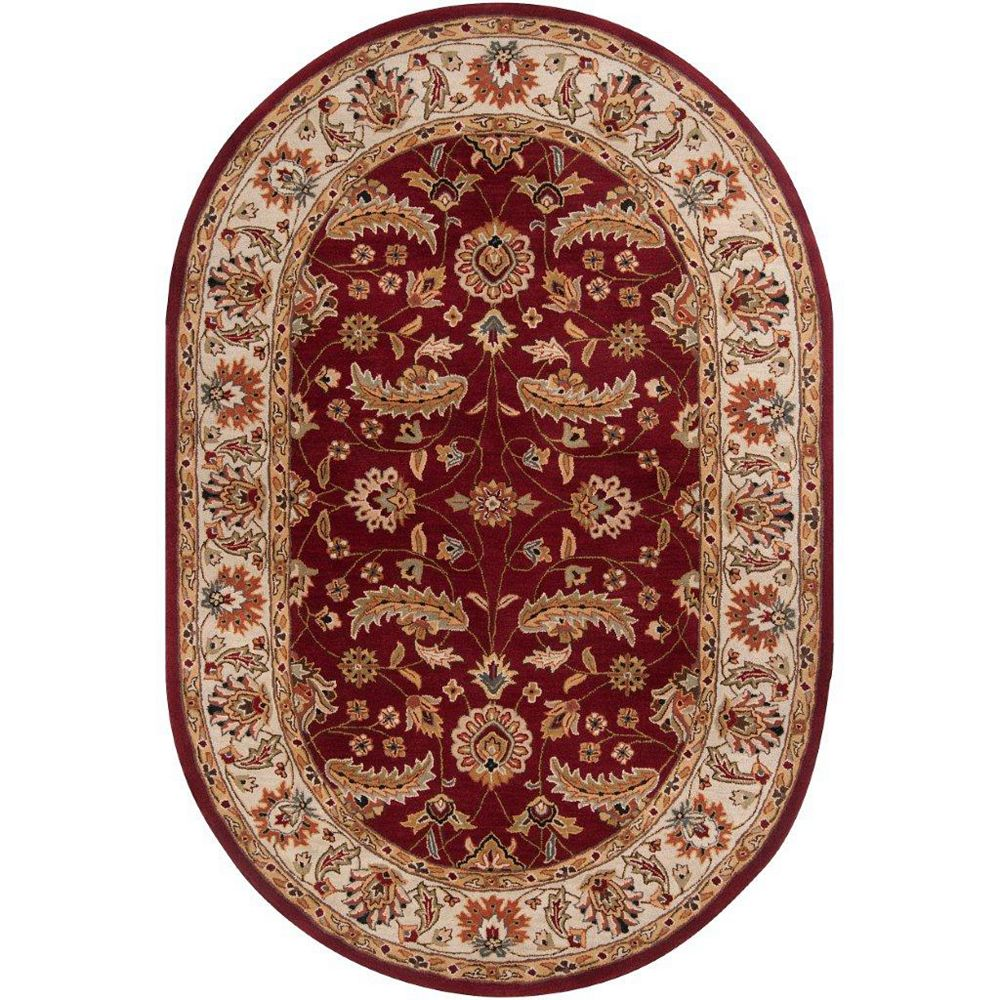 Artistic Weavers Brisbane Red 6 ft. x 9 ft. Indoor Traditional Oval Area Rug