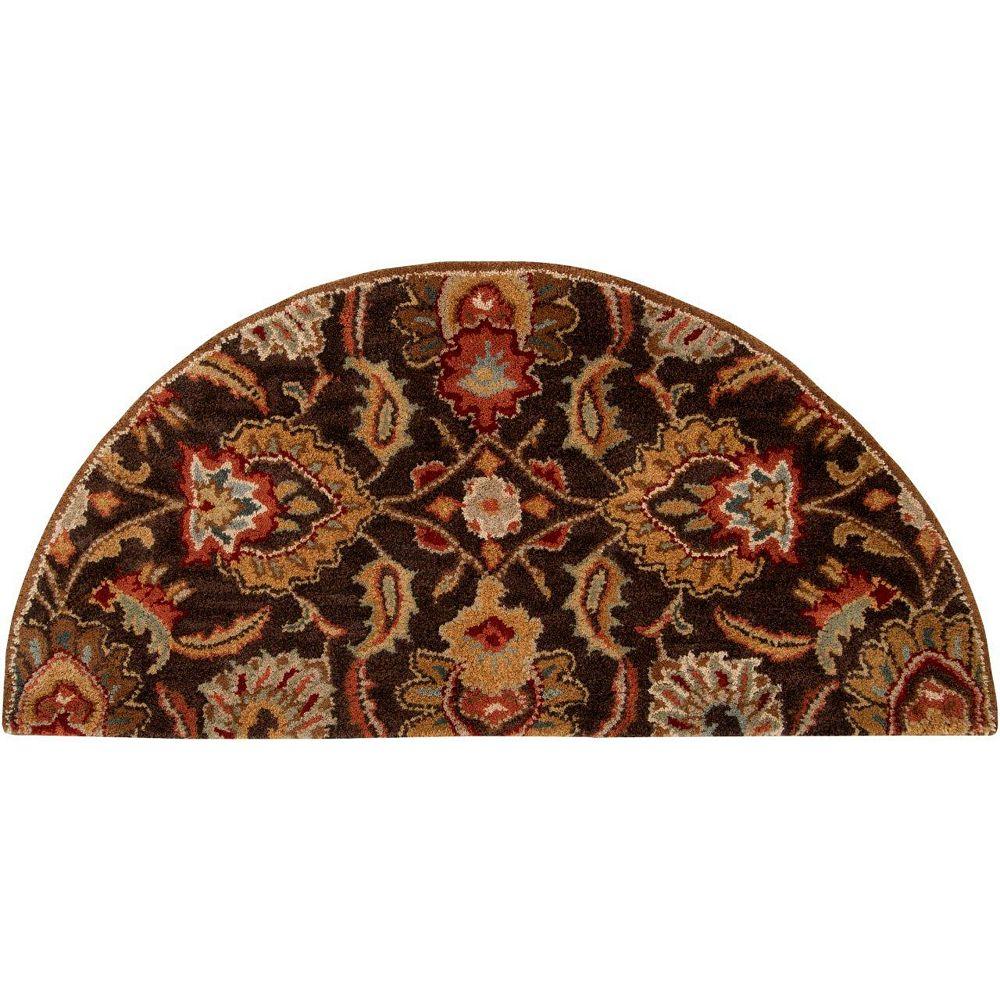 Artistic Weavers Calabasas Brown 2 ft. x 4 ft. Indoor Transitional Semi-Circular Accent Rug