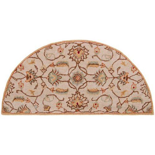 Petit tapis d'appoint d'intérieur en demi-cercle Calimesa, 2pi x 4pi, beige et havane
