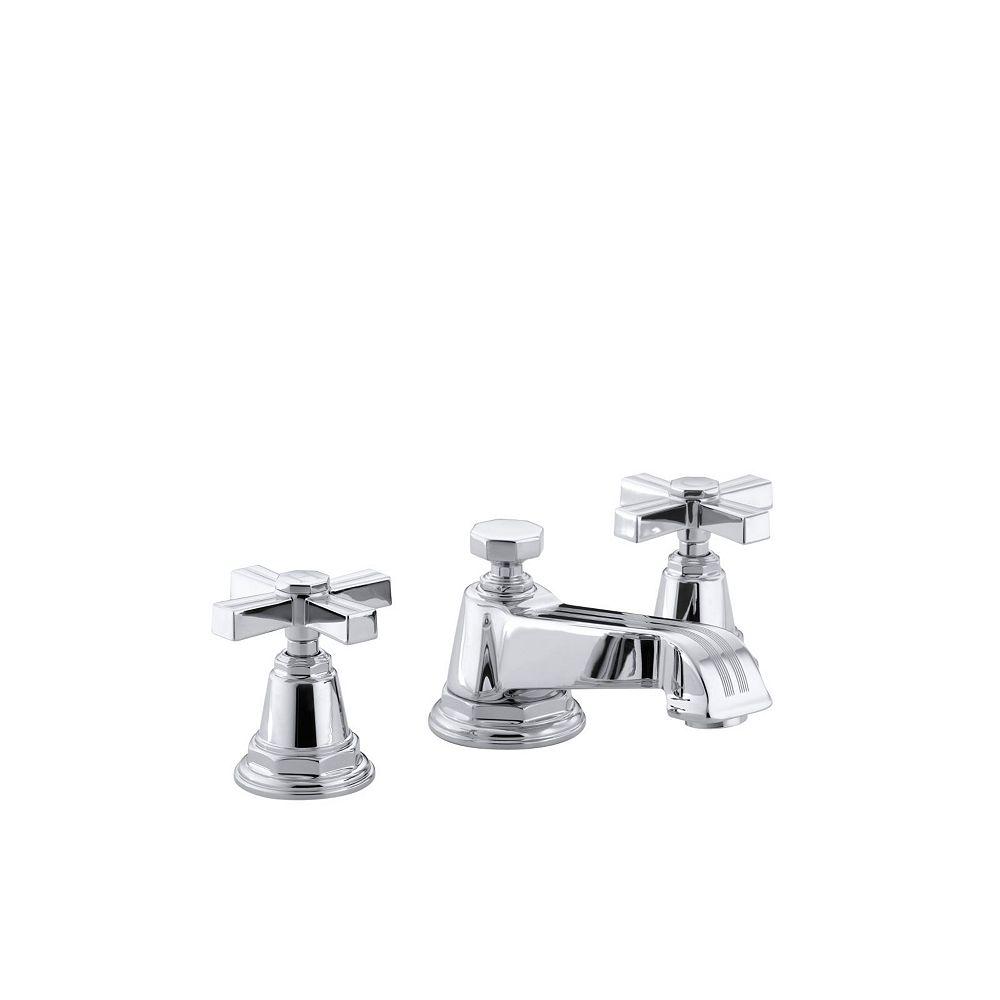 KOHLER Pinstripe(R) widespread bathroom sink faucet with cross handles