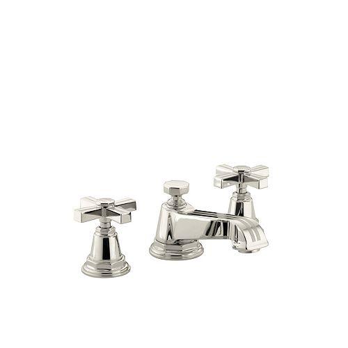 Pinstripe(R) widespread bathroom sink faucet with cross handles