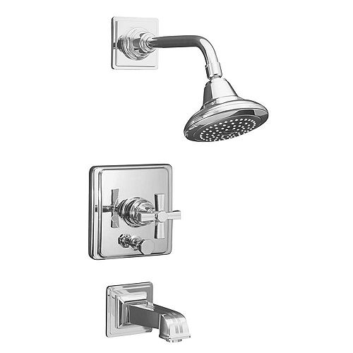 KOHLER Pinstripe(R) Rite-Temp(R) pressure-balancing bath and shower faucet trim with cross handle