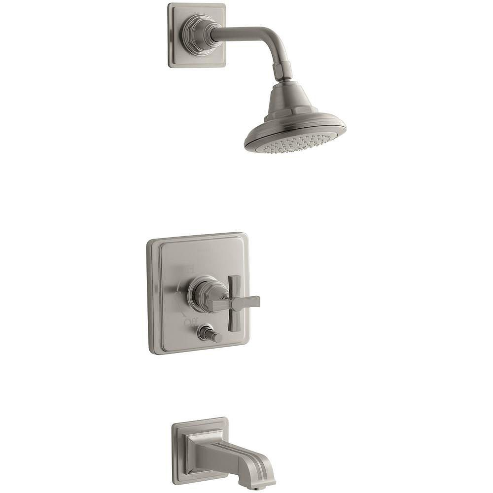 KOHLER Pinstripe(R) Rite-Temp(R) pressure-balancing bath and shower faucet trim with cross handle