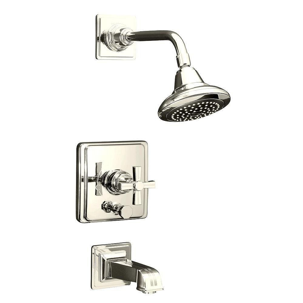 KOHLER Pinstripe Rite-Temp Pressure-Balancing Bath/Shower Faucet with Cross Handle