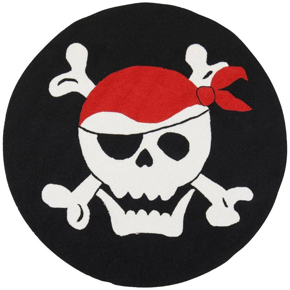 Artistic Weavers Airdire Jolly Roger Black 6 ft. x 6 ft. Round Area Rug