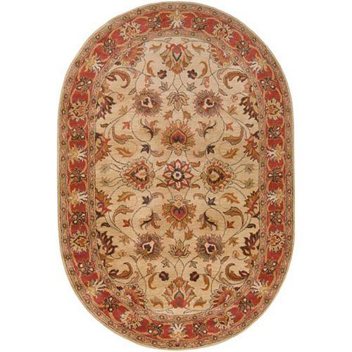 Artistic Weavers Belmont Beige Tan 6 ft. x 9 ft. Indoor Traditional Oval Area Rug