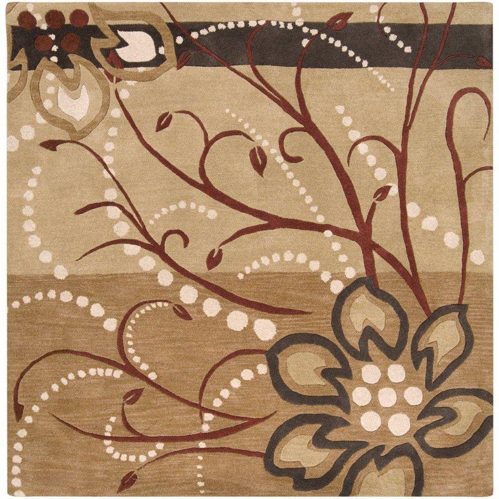 Artistic Weavers Carpette d'intérieur, 8 pi x 8 pi, style transitionnel, carrée, brun Amador