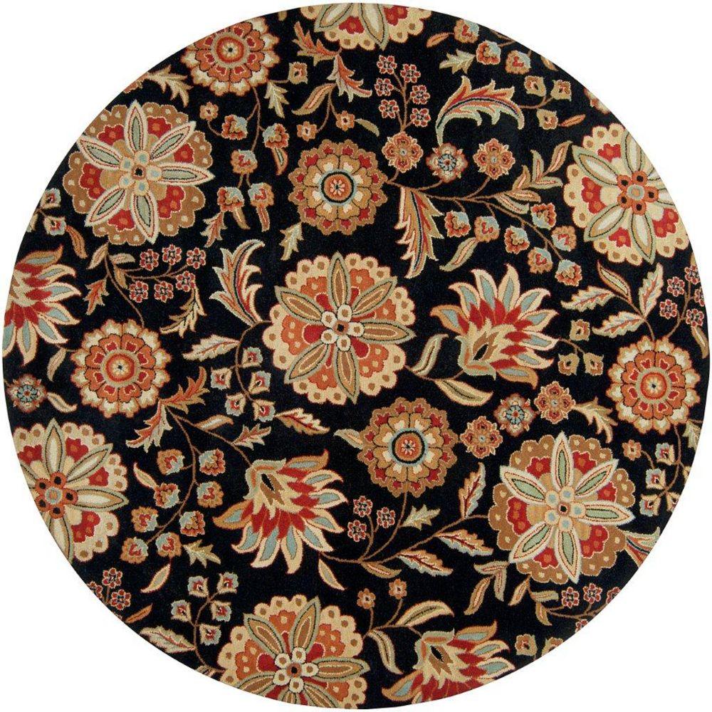 Artistic Weavers Carpette d'intérieur, 6 pi x 6 pi, style transitionnel, ronde, noir Anderson