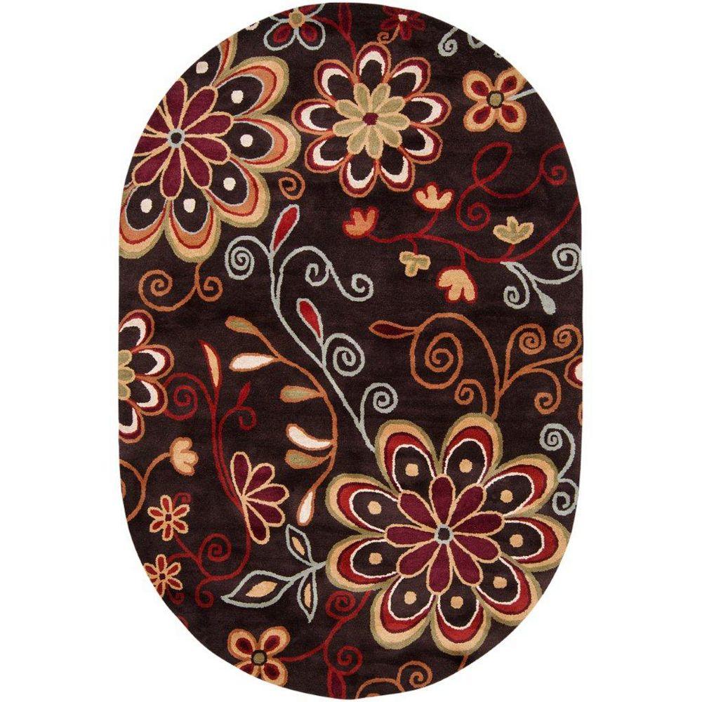 Artistic Weavers Carpette d'intérieur, 6 pi x 9 pi, style transitionnel, ovale, brun Arcadia