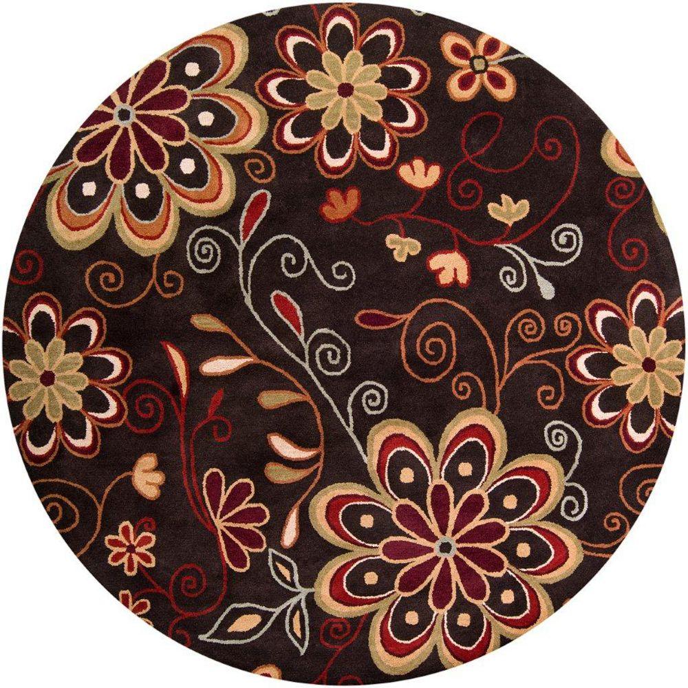 Artistic Weavers Carpette d'intérieur, 8 pi x 8 pi, style transitionnel, ronde, brun Arcadia