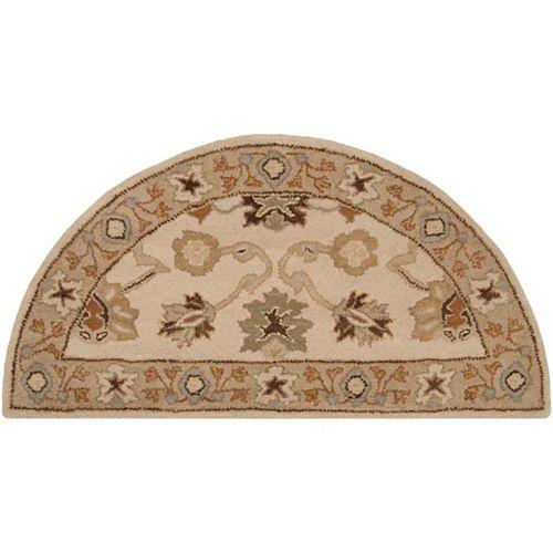 Carpette d'appoint d'intérieur, 2 pi x 4 pi, demi-ronde, beige et havane Brea