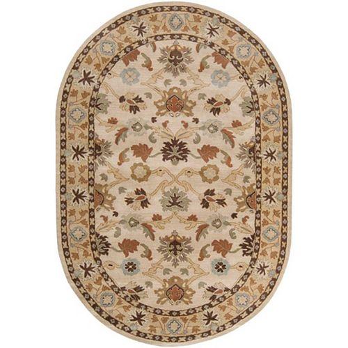 Carpette d'intérieur, 6 pi x 9 pi, style traditionnel, ovale, havane Brea