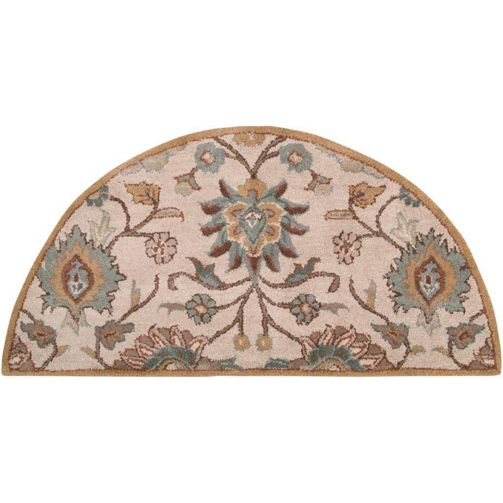 Artistic Weavers Brentwood Beige Tan 2 ft. x 4 ft. Indoor Transitional Semi-Circular Accent Rug