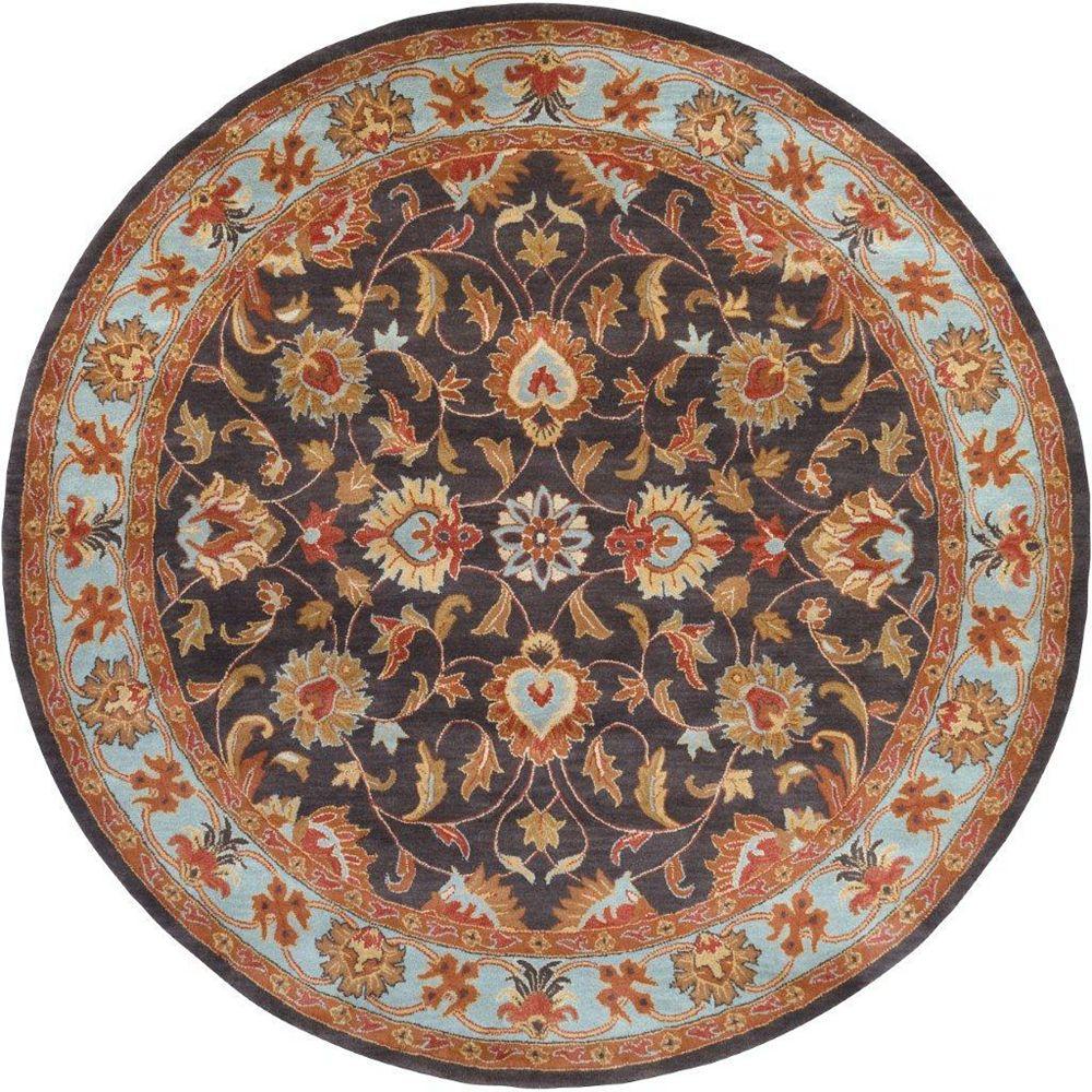 Artistic Weavers Carpette d'intérieur, 4 pi x 4 pi, style traditionnel, ronde, bleu Benicia